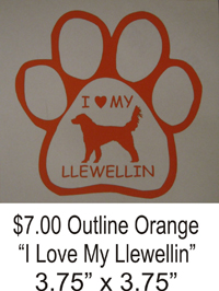 I Love My Llewellin Orange window decal