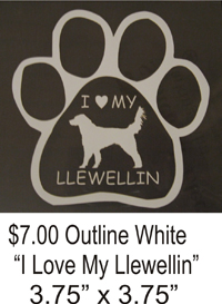 I Love My Llewellin White window decal